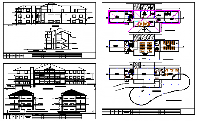 Architectural club house design drawing