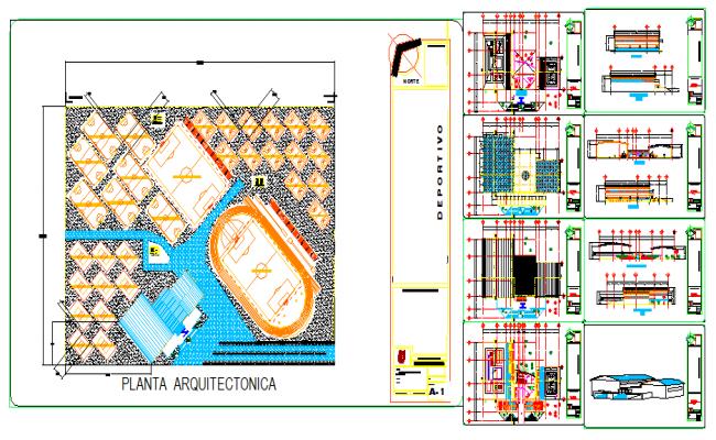 Architectural design of Sport center design drawing