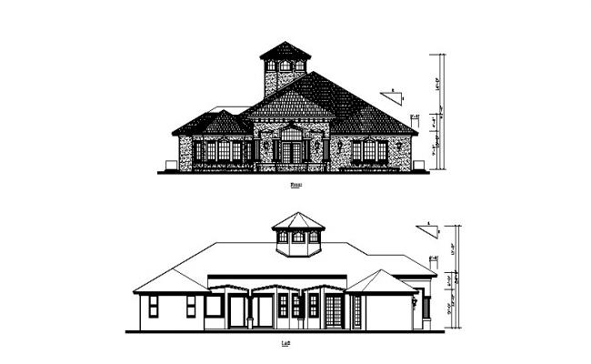 Modern Bungalow Elevation Design In DWG File