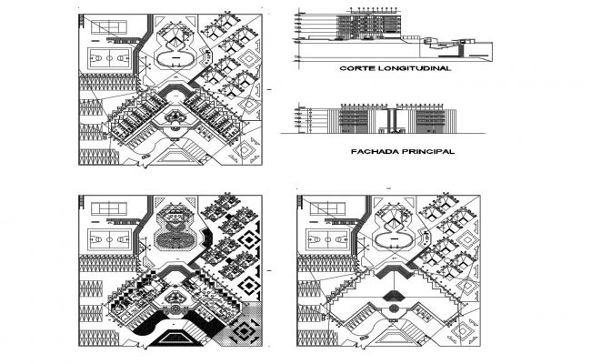 Architectural design of hotel 100mtr x 100mtr with elevation in dwg file