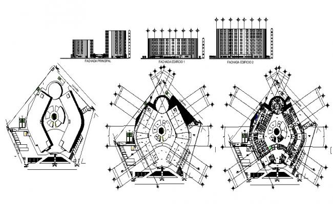 Architectural design of multistorey hotel building with detail dimension in dwg file