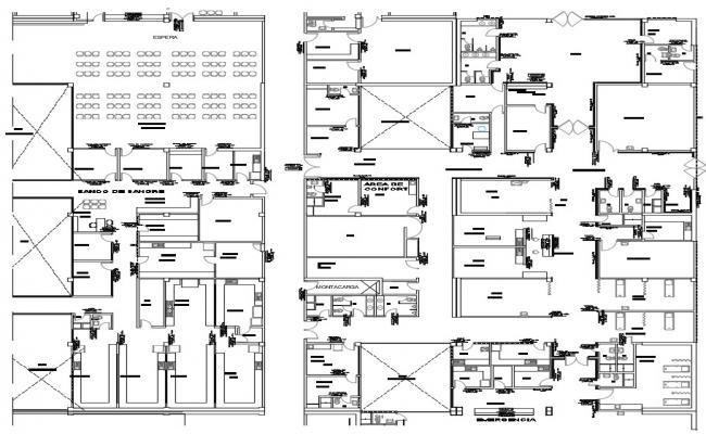 Architectural drawing of hospital plan