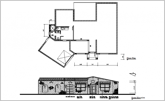 Plan Elevation End View : Architectural floor plan and elevation view of house dwg file