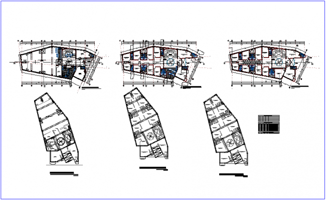 Architectural floor plan of community center with multiple use room view dwg file