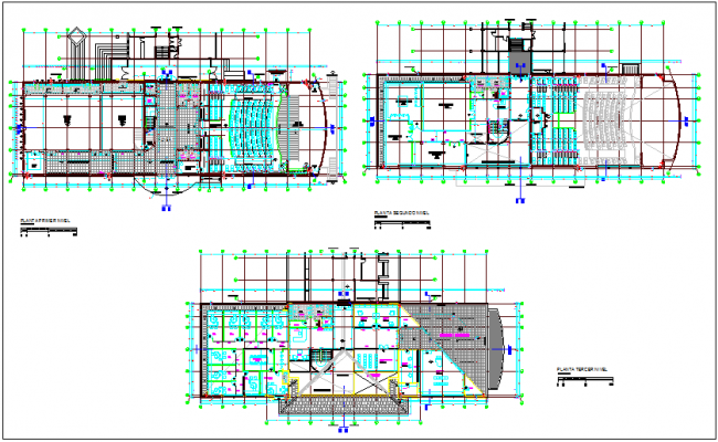 Architectural floor plan of cultural center dwg file