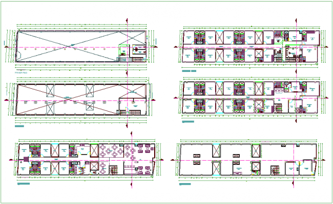 Architectural floor plan of three star hotel dwg file