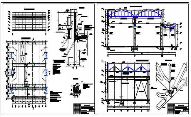 Architectural industrial building design drawing