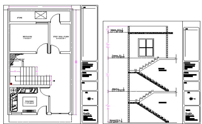 Architectural layout plan and sectional detail