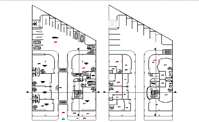 Architectural layout plan of a complex dwg file