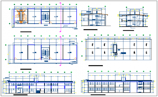 Architectural plan,elevation and section view of school classroom dwg file