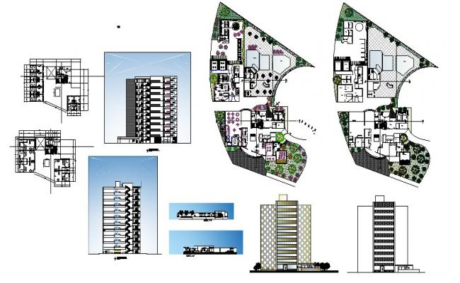 Architectural plan  of hotel building 40.53mtr x 26.25mtr with section and elevation in dwg file