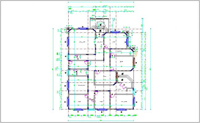 Architectural plan column view dwg file