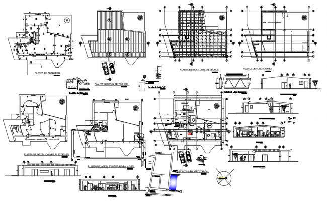 Architectural plan mini evil house floor plan with elevation dwg file