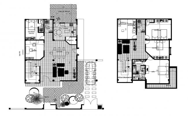 Architectural plan of 2 storey house 15.0mtr x 23.0mtr with detail dimension in dwg file