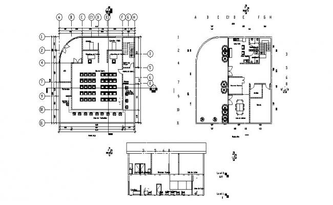 Architectural plan of Bank 16.74mtr x 16.50mtr with detail dimension in dwg file