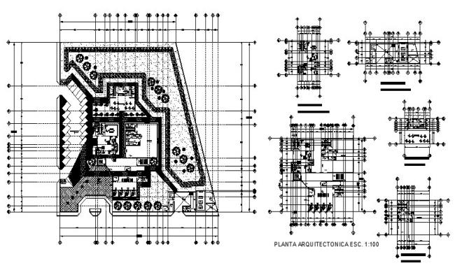 Architectural plan of Clinic 85.74mtr x 109.78mtr with detail dimension in dwg file