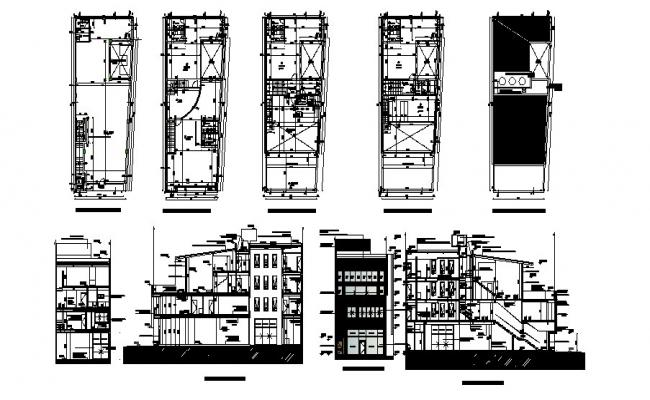 Architectural plan of Office building with different elevation and section in AutoCAD