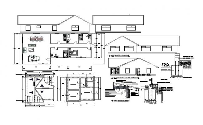 Modern Bungalow Design In AutoCAD File
