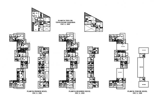 Architectural plan of a residential apartment with detail dimension in dwg file