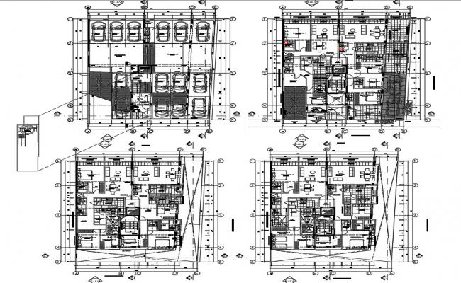 Residential building plans with detail dimension in DWG file