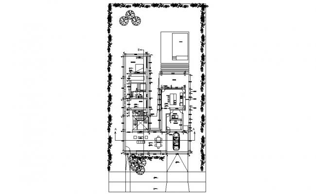 Architectural plan of a residential home with detail dimension in dwg file