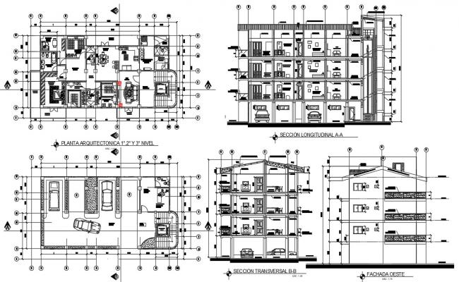 Apartment architecture design plans with detail dimension in DWG file