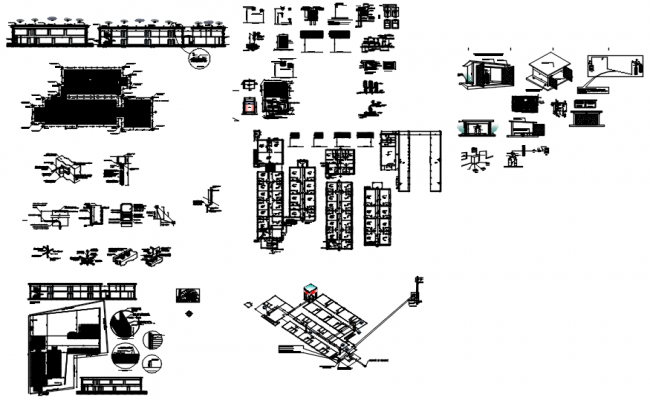 Architectural plan of building with detail dimension in dwg file