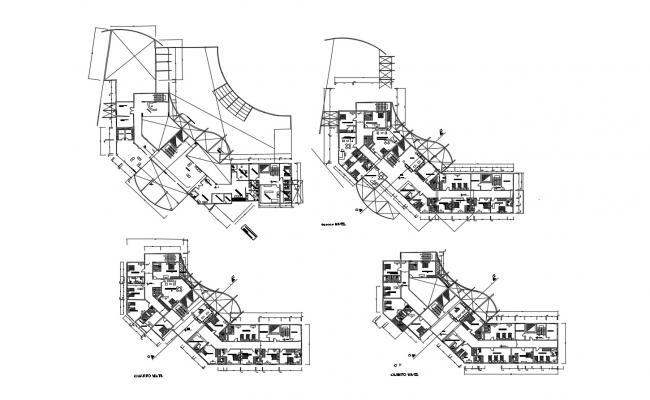 Architectural plan of guest house with detail dimension in dwg file