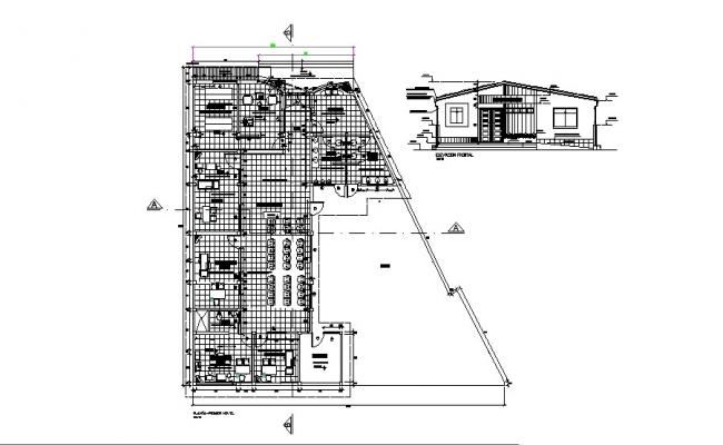 Architectural plan of health center 25.55mtr x 23.36mtr with elevation in dwg file