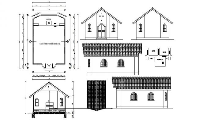 Architectural plan of hospital 5.00mtr x 8.00mtr with elevation and section in dwg file