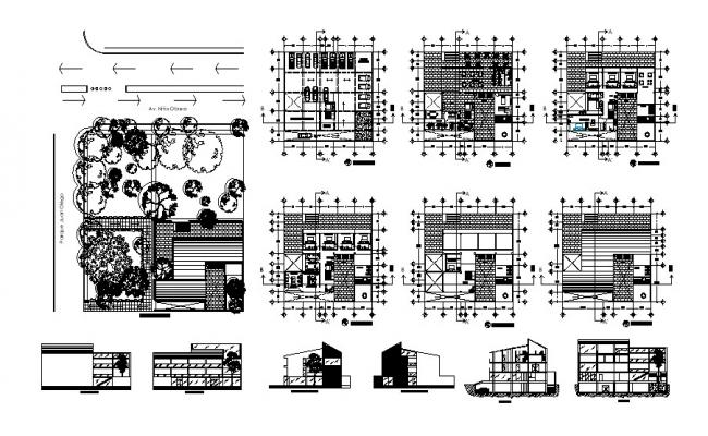 Architectural plan of hotel building with different section and elevation in AutoCAD