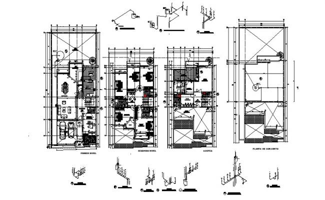 Architectural plan of house 12.00mtr x 27.26mtr with detail dimension in dwg file