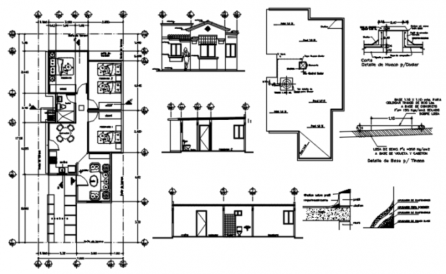 Architectural plan of house design 7.00mtr x 17.00mtr with elevation in dwg file