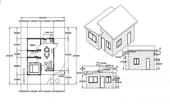 Architectural plan of house design in dwg file