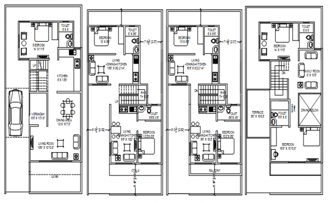 Architectural plan of house design with detail dimension in dwg file