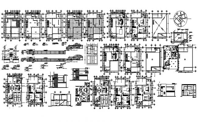 Architectural plan of house design with elevation and section in autocad