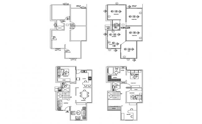 Architectural plan of house plan with detail dimension in dwg file