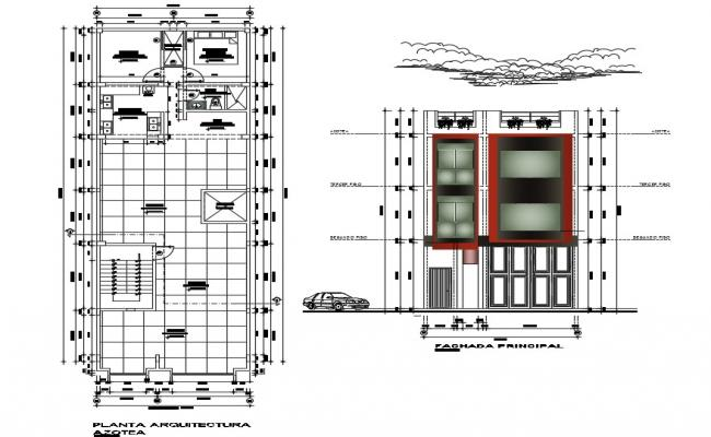 Architectural plan of house with detail dimension in dwg file