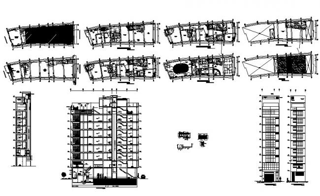 Hotel Building Elevation In AutoCAD File