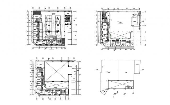 Architectural plan of office building with detail dimension in autocad