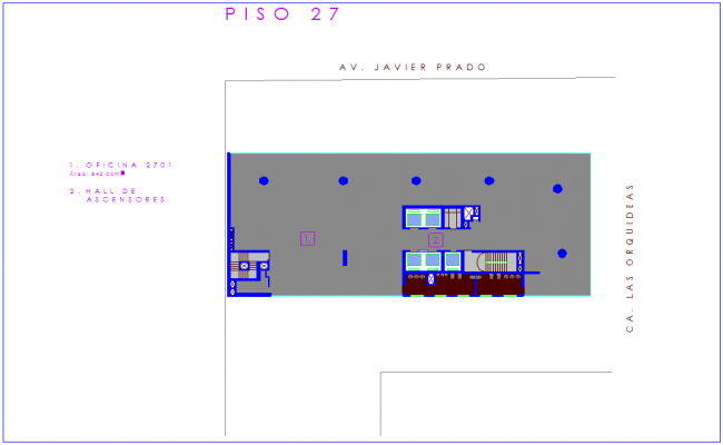 Architectural plan of office for floor number 27 dwg file
