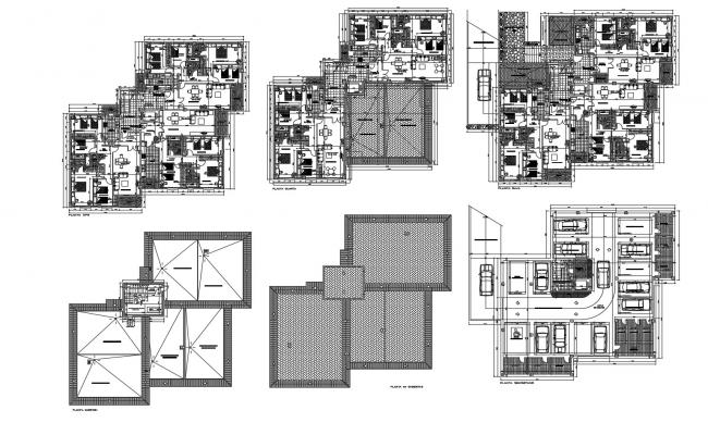 Architectural plan of residential apartment 12.95mtr x 9.50mtr with furniture detail in dwg file