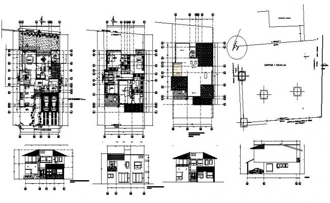Architectural plan of residential house with elevation and section in AutoCAD