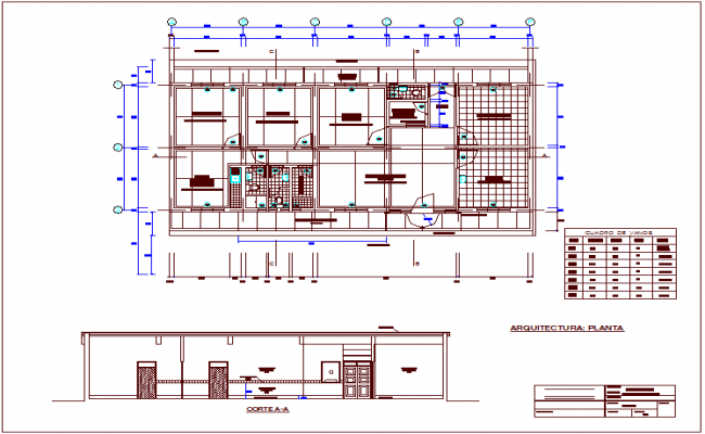 Architectural plan of rural medical area with section,door and window table view dwg file