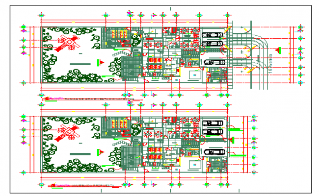 Architectural plan of school dwg file