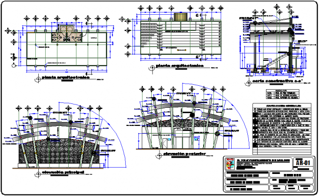 Architectural plan of stadium with construction detail dwg file