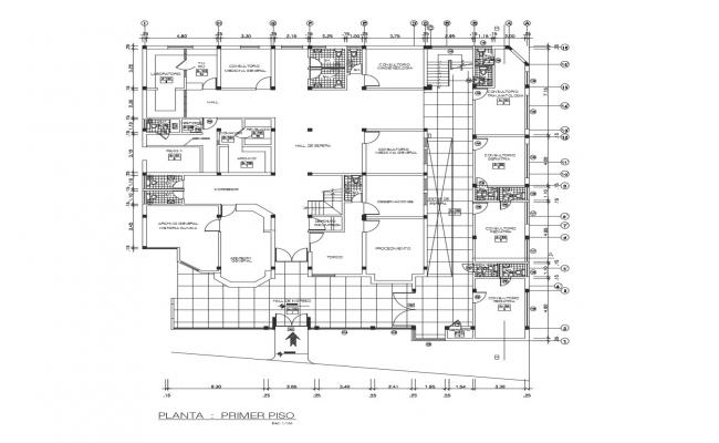 Architectural plan of the clinic with detail dimension in dwg file