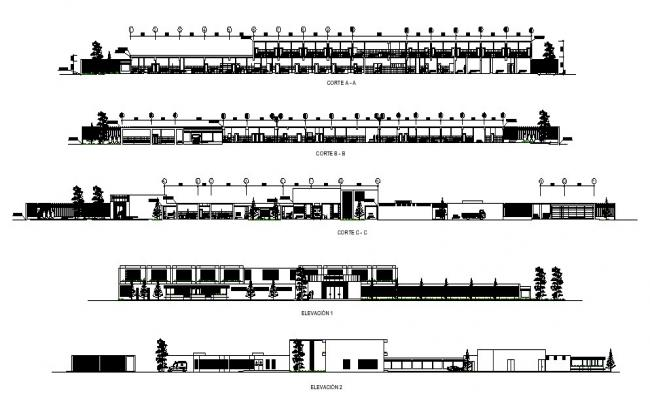 Architectural plan of the hospital with different section and elevation in dwg file