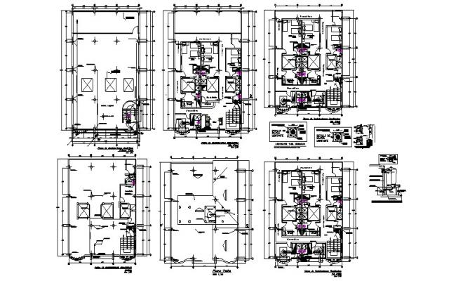 Architectural plan of the hotel building with a different section in AutoCAD