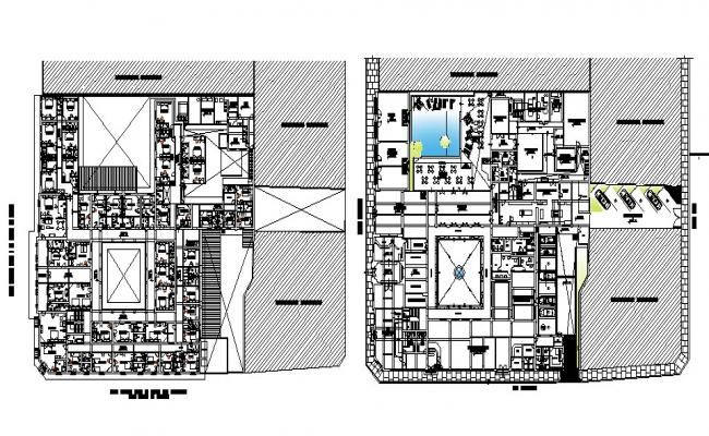 Architectural plan of the hotel building with detail dimension in dwg file